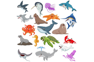 Set of Nineteen Cute Cartoon Ocean Animal