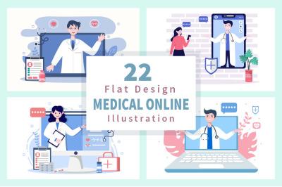 22 Online Doctor Medical Information Flat Design