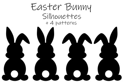 Bunny Silhouettes. Bunny Silhouettes pattern. Bunny SVG