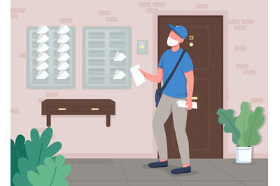 Mail delivery flat color vector illustration