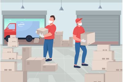 Mail warehouse flat color vector illustration