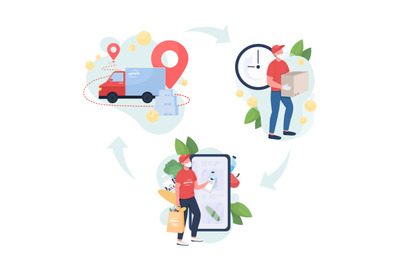 Food delivery flat concept vector illustration set