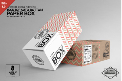 Top Tuck Auto Bottom Long Box Packaging Mockup