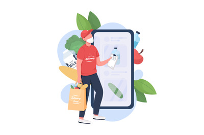 Food delivery man flat concept vector illustration