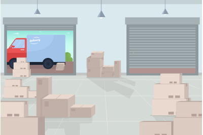 Logistic warehouse flat color vector illustration