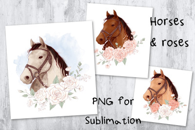 Horse & roses sublimation. Design for printing.