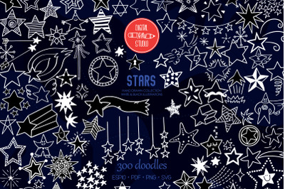White Star Doodles | Hand Drawn Constellation, Shooting Star, Garland