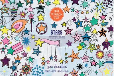 Color Star Doodles | Hand Drawn Constellation, Shooting Star, Garland