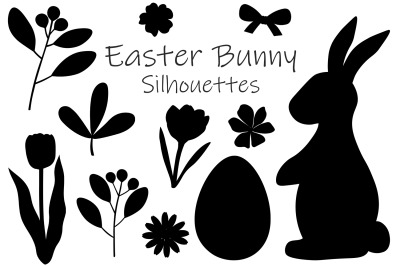 Easter Bunny Silhouettes. Bunny flowers. Easter Bunny SVG