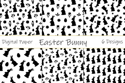 Bunny Silhouettes pattern. Happy easter pattern. Bunny SVG