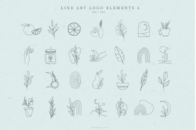 Line Art Logo Elements, Logo Design, Business card, Icons