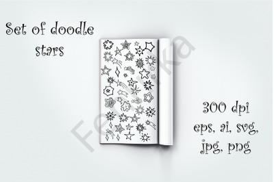 Bundle of digital Stars. Contour Hand draw