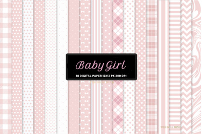 Baby girl, seamless patterns