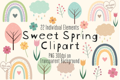 Cute Spring Clipart, Flowers & Rainbows, Mothers Day, Baby Nursery PNG