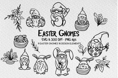 Easter gnomes and flowers svg and png set