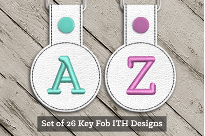Alphabet ITH Round Key Fob Set | Applique Embroidery