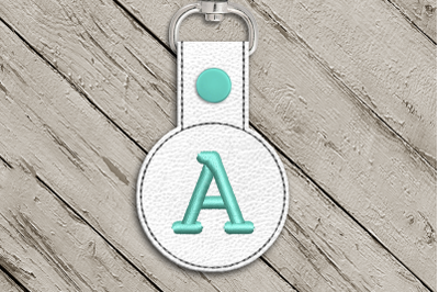Letter A ITH Round Key Fob | Applique Embroidery