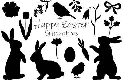 Bunny Silhouettes. Easter Silhouettes. Bunny flowers SVG