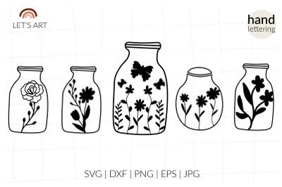 Mason jar svg. Floral jar svg. Butterfly svg. Meadow flowers svg for s