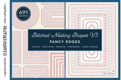 Stitched Nesting Shapes V3 Fancy Edges | sketch foil SVG card making