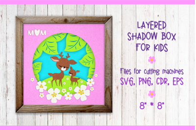 Mother Deer with a Fawn. Shadow Box SVG template