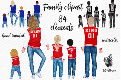 Family clipart Parents with kids Collage jackets Sublimation