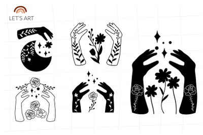 Floral hands svg bundle. Mehndi hands svg with crescent moon. Garden