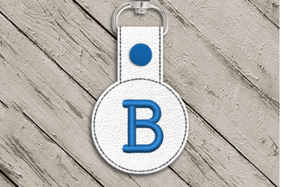 Letter B ITH Round Key Fob | Applique Embroidery
