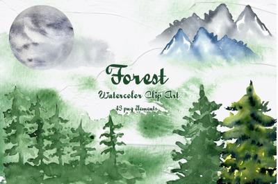 Forest Watercolor Clip Art