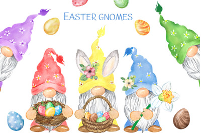 Easter gnomes. Spring holiday clipart. Gnomes, eggs. Easter cards PNG