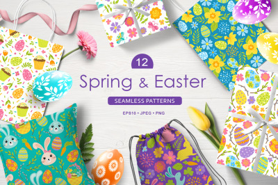 12 Spring and Easter seamless patterns