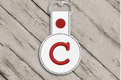 Letter C ITH Round Key Fob | Applique Embroidery