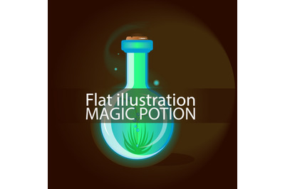 Magic potion. The illustration is flat. Vector