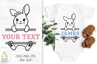 Bunny monogram svg Easter bunny svg Bunny split monogram svg cut files