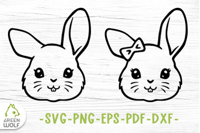 Bunny face svg Cute farm animals svg files for cricut Bunny clipart