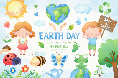 Watercolor Earth Day Clipart, Environment PNG Graphics