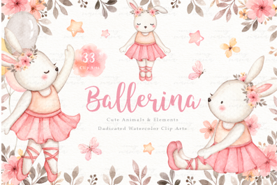 Ballerina Watercolor Clip Arts