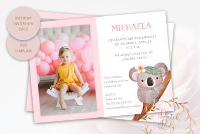 PSD Party Invitation Photo Card #1