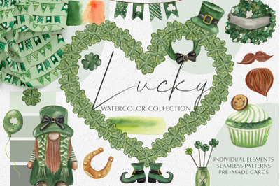 Watercolor St. Patrick's Day Clipart. Seamless Patterns. Sublimation
