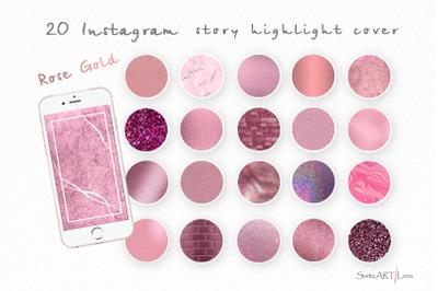 Instagram Rose Gold Highlight Icons
