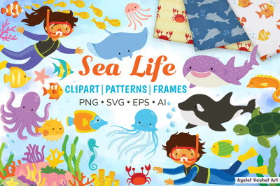 Sea Life Clipart Bundle - animals, kids, patterns and frames.
