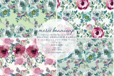 Watercolor Mint Mauve Taupe Floral Seamless Patterns
