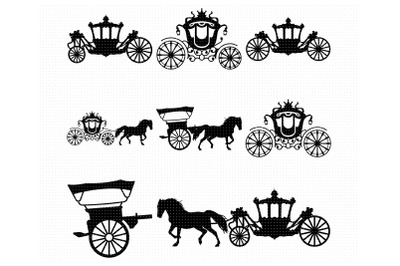 horse carriage svg, clipart, png, dxf logo