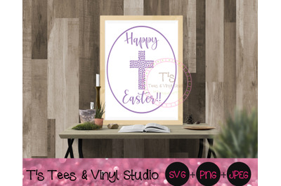 Happy Easter Svg, Hearts Cross, Jesus, God, He Is Risen, Religious PNG
