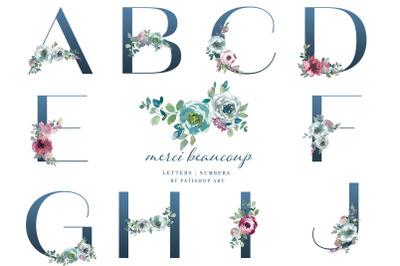 Watercolor Mint & Mauve Floral Alphabet