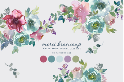 Watercolor Mnt & Mauve Floral Clipart