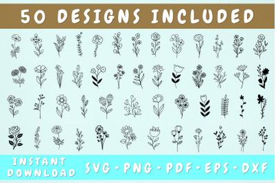 Wildflower SVG Bundle - 50 Designs, Cricut Cut FIles