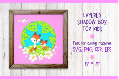 Mama fox with a baby fox. Shadow Box Template svg