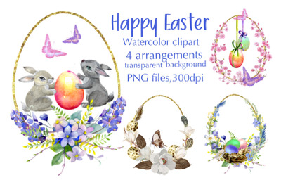 Watercolor Easter arangaments,Easter cards for printable.Easter floral