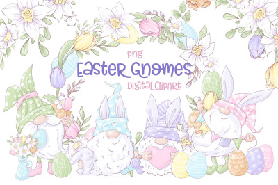 Gnome Easter Digital Clipart.